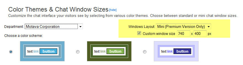 Selecting Mini Window will offer Size Customization in pixels