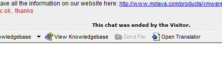 OCC live chat ended by visitor message