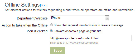 Offline Live Chat Forward to URL