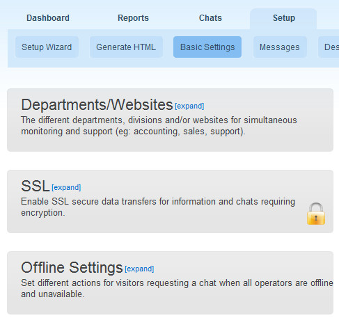 Offline Settings for Live Chat