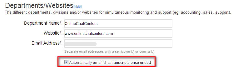 Automatic Email Chat Transcript