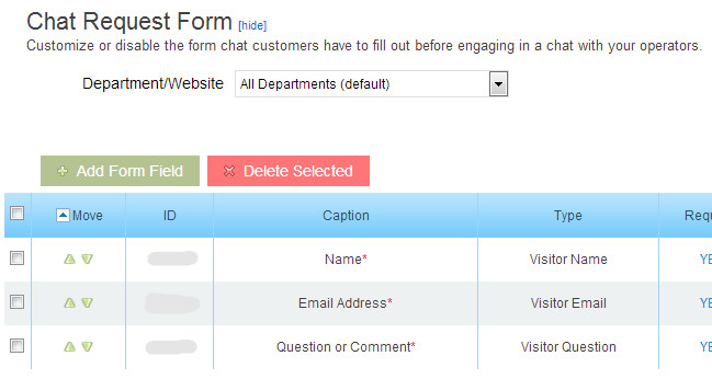 Live Chat Request Form